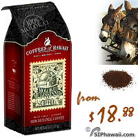 The Original Molokai MuleSkinner Dark Roast - Rugged terrain- Ground Coffee. A natural-dried Arabica coffee roasted to a rich, dark finish. A hearty coffee for the true coffee lover. Smooth, full bodied, low acidity, rich dark hearty finish with a hint of spice. Hawaii Kosher Coffee.