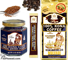 Mulvadi Coffee 100% Pure Kona Ground Coffee and Coffee Beans, a delicate Medium Dark and Gourmet Roast. Packed in a decorative 'gold' foil bag with a one way valve to lock in freshness. Kona Instant Coffee, Freeze Dried Granulated coffee available in a jar, pouche,r rip coffee sticks and single serve packets. Mulvadi Corporation Coffee products. Excellent show case of Hawaii.