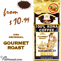 Mulvadi MEDIUM DARK roast Ground Coffee. Net weight 7 ounce or 197gram. 100% Pure Kona, old fashioned grind.