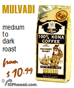 Mulvadi Coffee range. 100% pure Kona Coffee. Instant freeze dried kona coffee.