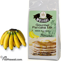 Mulvadi Gourmet Pancake and Waffle Mix, Buttermilk Banana flavor from Hawaii.