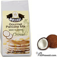 Mulvadi Gourmet Pancake and Waffle Mix, Buttermilk Coconut flavor from Hawaii.