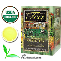 Hawaiian Islands Tea Company Organic Green Tea of amber-jade color, smooth refreshing taste & aromatic textures of freshly harvested tea. Antioxidant Rich to battle nasty free radicals in your body.