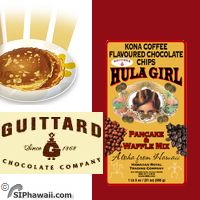 Hula Girl / Big Foot Pancake mix Kona Coffee flavoured with Chocolate Chip by Guittard. Big Foot Auk-Nu Pancakes waffles crepes mix.