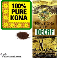 100% Kona DECAFFEINATED GROUND Coffee - MEDIUM Roast Private Reserve. 100% State of Hawaii certified Kona Coffee.