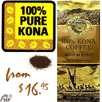 100% Kona GROUND Coffee - MEDIUM Roast Private Reserve. 100% State of Hawaii certified Kona Coffee.