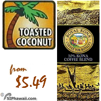 A MEDIUM LIGHT Kona blend. With each sip you will appreciate the incredible combination of a rich 10% Kona coffee blend and the buttery sweet flavor of toasted coconuts. Very popular with tourists and locals alike.