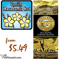 A MEDIUM LIGHT Kona blend. Flavored with Vanilla and Macadamia Nut. ALSO available in DECAFFEINATED.