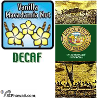 A DECAFFEINATED MEDIUM LIGHT Kona blend. Flavored with Vanilla and Macadamia Nut. ALSO available in DECAFFEINATED.