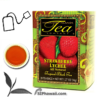 An ALL NATURAL tropical black tea infused with the flavors of Strawberry and Lychee Fruits. Strawberry, one of the great tea flavorings, is a fruit widely appreciated for its appetizing bright red color, special flavor and appealing aroma. Lychee is a small tropical fruit of ancient eastern origins. This sweet and delicate fruit was considered a supreme delicacy by Chinese emperors for more than 2000 years. The Lychee fruit adds a pleasant floral notes to our black tea leaves. Box 20 individually sealed tea bags.