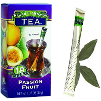 Hawaii Plantation Tea Sticks Passion Fruit. A rare treasure. This Passion Fruit tea carefully combines the pleasant sweet tropical taste of ripened passion fruit with the lively taste of premium black tea. So, if you are passionate about your tea, look no further. Instant premium gourmet Black Tea blend with All Natural Flavors. Tea Perfection in 3 great tropical flavors at 39 cents per cup. Individually protected in transparent wrapper bistro style tea wands with aroma barrier to ensure maximum freshness. Let your afternoon tea guests choose their own flavor from the serving tray. No squashing tea bags. These convenient tea sticks won't keep dripping or leave a soggy mess. Let the lush, sweet fruits of these tropical teas fill your day. Enjoy this uplifting tea either hot or wonderful over ice. Pour hot water, Stir and Enjoy! Easy to travel with and great for the office and outdoor activities.