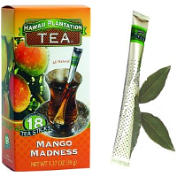 Hawaii Plantation Single Steeps Tea Sticks Mango Madness. An enchanting fruit that offers a subtle sweetness. This Mango Tea is perfectly blended with premium black tea offering the sweet flavor or ripened mangos. Instant premium gourmet Black Tea blend with All Natural Flavors. Tea Perfection in 3 great tropical flavors at 39 cents per cup. Individually protected in transparent wrapper bistro style tea wands with aroma barrier to ensure maximum freshness. Let your afternoon tea guests choose their own flavor from the serving tray. No squashing tea bags. These convenient tea sticks won't keep dripping or leave a soggy mess. Let the lush, sweet fruits of these tropical teas fill your day. Eenjoy this uplifting tea either hot or wonderful over ice. Pour hot water, Stir and Enjoy! Easy to travel with and great for the office and outdoor activities.