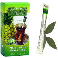 Hawaii Plantation Tea Sticks Pineapple Paradise. Known for its sweet yet delicate taste. This Pineapple Tea combines the succulent flavor of perfectly ripened pineapples with the deep taste of premium black tea. Instant premium gourmet Black Tea blend with All Natural Flavors. Tea Perfection in 3 great tropical flavors at 39 cents per cup. Individually protected in transparent wrapper bistro style tea wands with aroma barrier to ensure maximum freshness. Let your afternoon tea guests choose their own flavor from the serving tray. No squashing tea bags. These convenient tea sticks won't keep dripping or leave a soggy mess. Let the lush, sweet fruits of these tropical teas fill your day. Enjoy this uplifting tea either hot or wonderful over ice. Pour hot water, Stir and Enjoy! Easy to travel with and great for the office and outdoor activities.