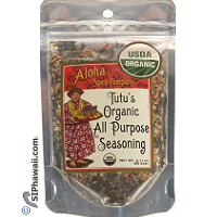 Tutu's USDA Organic All Purporse Seasoning in re-sealable pouch 2.11 ounces. For Kitchen and BBQ. By Aloha Spice Company - Made in Kauai - Hawaii.
