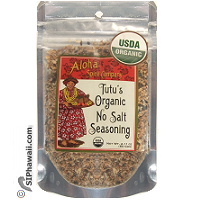 Tutu's USDA Organic No Salt Seasoning in re-sealable pouch 2.11 ounces. For those that require salt free or prefer to add their own. By Aloha Spice Company - Kauai - Hawaii.