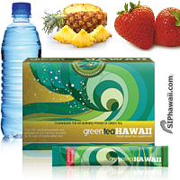 Green Tea Hawaii Pineapple Strawberry drink mix is a specially formulated Green Tea and Noni concentrate loaded with powerful antioxidants, aiding health and weight loss. ADD to water, SHAKE and ENJOY! Available in 3 Great Flavors packed in a handy single serve rip stick sachet for at home, the office, beach and on the go. Belongs in every standby emergency bag. Research supports drinking of green tea and noni concentrate for a wide variety of health reasons including reducing bad cholesterol. Box 12 Count.