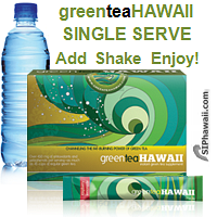 Green Tea Hawaii drink mix is a specially formulated Green Tea and Noni concentrate loaded with powerful antioxidants, aiding health and weight loss. ADD to water, SHAKE and ENJOY! Available in 3 Great Flavors packed in a handy single serve rip stick sachet for at home, the office, beach, camping trips and on the go. Belongs in every standby emergency bag. Research supports drinking of green tea and noni concentrate for a wide variety of health reasons including reducing bad cholesterol. Box 12 Count.