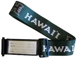 Island Ties Luggage Straps from Hawaii University with Name Tag and Velcro to secure.
