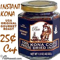 Mulvadi Instant Kona Coffee 100% Kona coffee freeze dried instant. THE ORIGINAL at 25c per cup. Packed in a jar with a screw top tight lid to preserve freshness. Contents 1.5 oz - 42 gram. Makes 25 to 30 cups. Use 1-2 teaspoons per cup of hot water and stir.