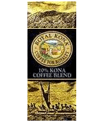 Royal Kona Coffee. 10% Kona Arabica Gourmet coffee blends. Regular Unflavored, Flavored, Decaf.