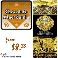 A MEDIUM LIGHT Kona blend. With the richness of milk chocolate and the exotic flavor of macadamia nut.