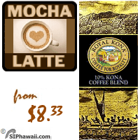 Mocha Latte LIGHT MEDIUM Roast. Rich and creamy yet with a hint of cinnamon spiciness, this light medium roast 10% Kona coffee blend is a chocolate lover's fantasy.