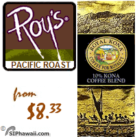 Roy Yamaguchi's custom Pacific Roast as served in Roy's award winning restaurants. A MEDIUM DARK 10% Kona Blend with vibrant flavor and rich, full-bodied character.