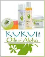 Kukui Oil - Natural Bath and Body products -  Moisturizers, Cream, Lotion, Oil, Soap, Gift sets.